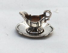 Vtg Dollhouse Miniature Guglielmo Cini Sterling Silver Gravy Boat Under plate