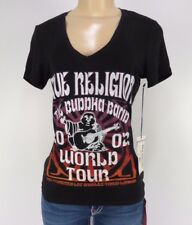 NWT True Religion Womens T-Shirt BUDHA BAND V Neck Tee, Black, Size S,Retail $75