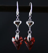 Siam Red Heart Wonderland 925 Silver Earrings made with Swarovski Crystal
