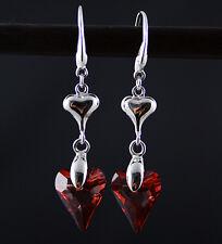 Siam Corazón Rojo Wonderland Plata 925 Aretes Hechos Con Cristal Swarovski