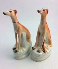 PAIR Staffordshire pottery seated Whippet dogs