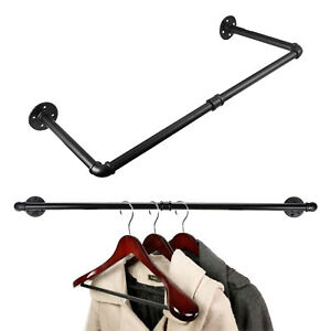 Clothes Rail Tube Industrial Pipe Clothing Rack Wall Mounted Hanging Towel Rail