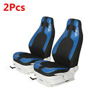 Car Front Seat High Bucket Protector Cover Kit Waterproof Pu Leather Black+Blue  for sale