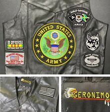 Geronimo Vest Motorcycle United States Army Leather Jacket Flag Sz L patches HD