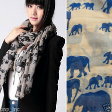 Large Fashion Pink Elephant Logo Print Women Light Long Sheer Scarf Wrap Shawl