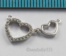 1x RHODIUM STERLING SILVER CZ CRYSTAL HEART LINK CHANDELIER CONNECTOR BEAD #2682