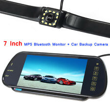 US-7 Inch MP5 Bluetooth Car Rearview Mirror Monitor+12 LEDs Car Backup Camera