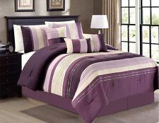 7Pc CAL KING Purple Lavender White Stripe Embroidered Pin Tuck Comforter Set