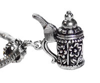 German Beer Stein Flower Drink Dangle Charm for Silver European Bead Bracelets