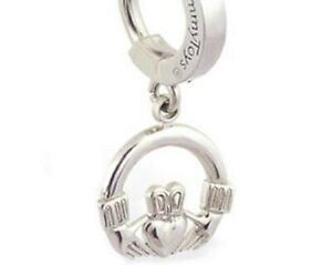 TummyToys Sterling Silver Navel Ring with Silver Claddagh Drop Charm [TT-65015]
