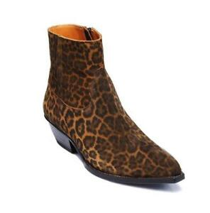 Occident Mens Real Leather Leopard Chelsea Runway Boots Shoes Pointy Toe Casual