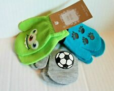 3-Pack Mittens Baby Boys Size 9-18 Months Green Blue Gray 3-Pair Pack NEW