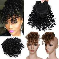 Afro Kinky Curly Bangs Clip in Front Fringe Hairpiece as Human Hair Extensions