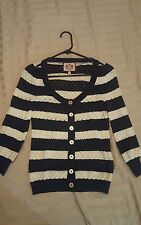 Juicy Couture Navy White Nautical Striped Cardigan Sweater 3/4 Sleeve Top XS