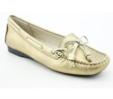 New Michael Kors Amber Moc Flats Slip-on Slide Sandals Shoes White Gold 9.5