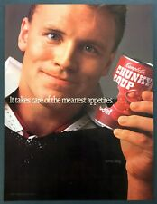 1989 Oakland Raiders Football Star Howie Long photo Campbell's Soup print ad