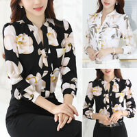 Women Shirt V-Neck Floral Print Chiffon Long Sleeve Blouse Tops Office Or Casual