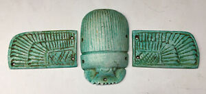 19-20th C. Egyptian 3 Piece Scarab Amulet w Wings Blue Faience Cartouche