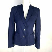 Brooks Brothers Womans Blazer Sz 4 Blue Two Button Pockets Wool Blend
