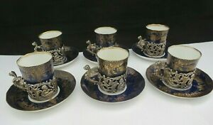 1890's William Comyns Sterling Silver Coffee Can Holders X 6 Cans & Saucers FREE