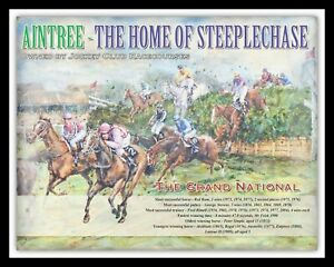 GRAND NATIONAL HORSE RACE RED RUM AINTREE LIVERPOOL METAL PLAQUE TIN SIGN 200