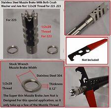 Stainless Steel 1/2x28 Thread .223 5.56 Shark Muzzle Brake,Crush Washer Jam Nut