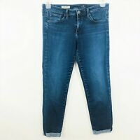 AG Adriano Goldschmied Jeans 29 The Stilt Roll-Up Cigarette Medium Wash Stretch