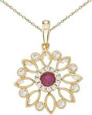 14K Yellow Gold Floral Filigree Ruby & Diamond Pendant (Chain NOT included)