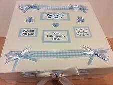 Large Personalised New Baby Boy Keepsake Memory Box Christening Gift