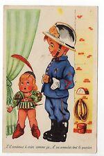 """POMPIERS carte postale fantaisie """" petit garçon en costume de pompier """""""