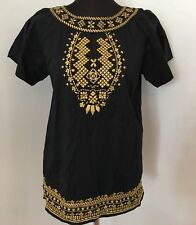 WD NY 8 Tunic Top Shirt Black Gold Embroidered Aztec Tribal Peasant Boho Hippie
