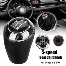 5 Speed PU Leather Car Gear Shift Knob Stick Shifter Head Black For Mazda 3 5 6