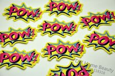 POW! Novelty Iron Sew on Embroidered Patch Badge Motif  For Clothing Applique