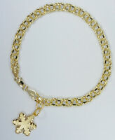 New 3+ grams 14K Yellow Gold Link Charm Chain Bracelet 10K Snowflake Charm