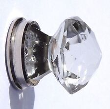 Cut glass small crystal pointy cupboard door pull knob with Chrome base 30 mm