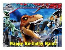 LEGO JURASSIC PARK A4 (25.5cm x 19cm) KOPYKAKE EDIBLE ICING IMAGE CAKE TOPPER #1