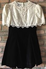 Vtg Jessica Mc Clintock Girls Sz 14 Dress Deep Brown/Bronze, White Pearls, Lace