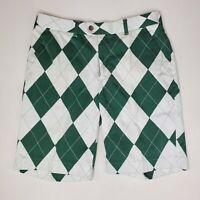 Loudmouth Golf Shorts Mens Size 34 Green White Argyle Golfing