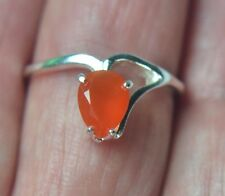 LINDA'S BRIGHT ORANGE MEXICAN FIRE OPAL PEAR SOLITAIRE STERLING SILVER RING 7US