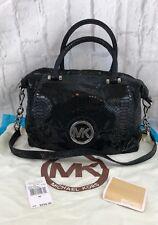Michael Kors Fulton Black Genuine Leather Pythonembossed Satchel With Dust Bag