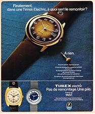 PUBLICITE ADVERTISING 104  1975  TIMEX ELECTRIC  Montre  pas de remontage