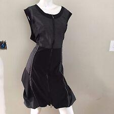 FRANSTYLE BLACK Striped SPRING SUMMER Zip Up DRESS VGUC Size 48 US 18