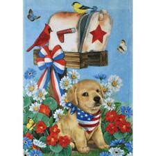 Usa Dog July American Puppy Memorial Cardinal Bird Mini Window Garden Yard Flag