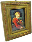 """Young Scholar Small Wood & Glass Framed Art Print with Hanger 5¾' x 4⅞"""" Italy"""