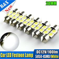 10x 28mm 4SMD 5050 LED Car Festoon Dome Number Plate Light Bulb 100lm 12V White