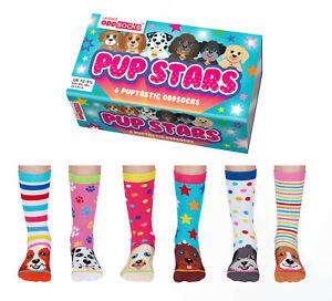 UNITED ODDSOCKS PUP STARS SIX PUPPY INSPIRED ODD SOCKS FOR GIRLS UK SIZE 12 -5.5
