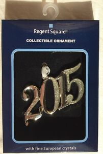 REGENT SQUARE Ornament YEAR 2015 DATE New SHIP FREE Number, Fine Crystals