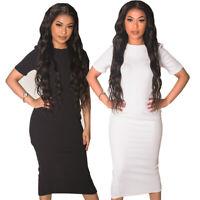 Short Sleeved Tall Bodycon Midi Dress | Black | White | Size 8-14