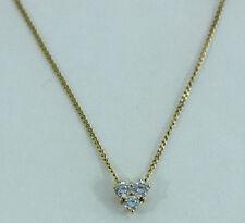 Estate Jewelry 18k Yellow Gold Small 3 Diamond Heart Pendant Necklace