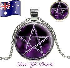 PENTAGRAM Pagan Witch Wicca Supernatural Purple Glass Cabochon Pendant Necklace